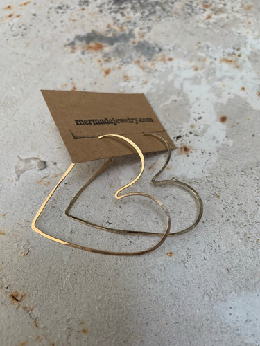Big gold wire hearts