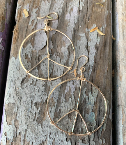 Small gold peace hoops