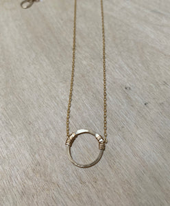 circle necklace in gold or sterling