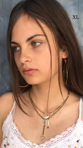 Extra large 14 k goldfill or sterling hammered hoops