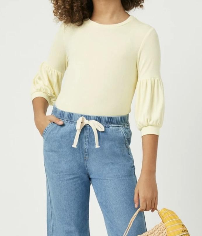 Balloon Sleeve Ribbed Knit Top - jernijacks