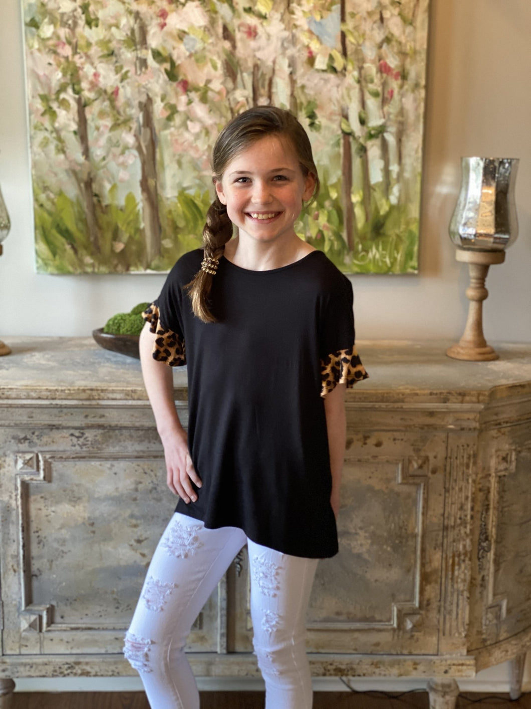 Leopard Ruffle Sleeve Top - jernijacks