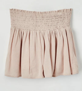 Mauve Smocked Waist Shorts - jernijacks