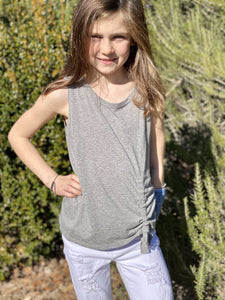 Sleeveless Drawstring Top- Gray - jernijacks