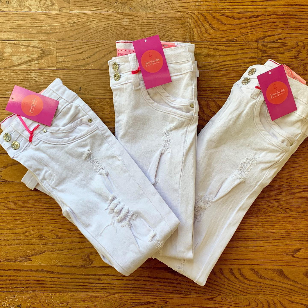White Distressed Jeans - jernijacks