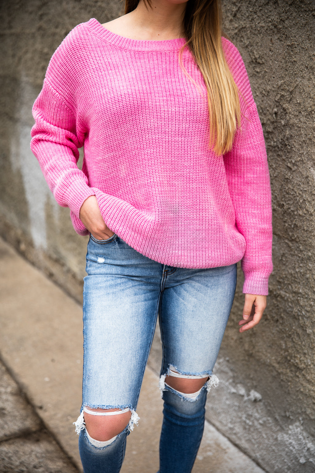 Pink Tie Dye Powderpuff Girl Sweater