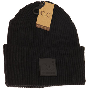 Solid Ribbed CC Beanie with Rubber Patch