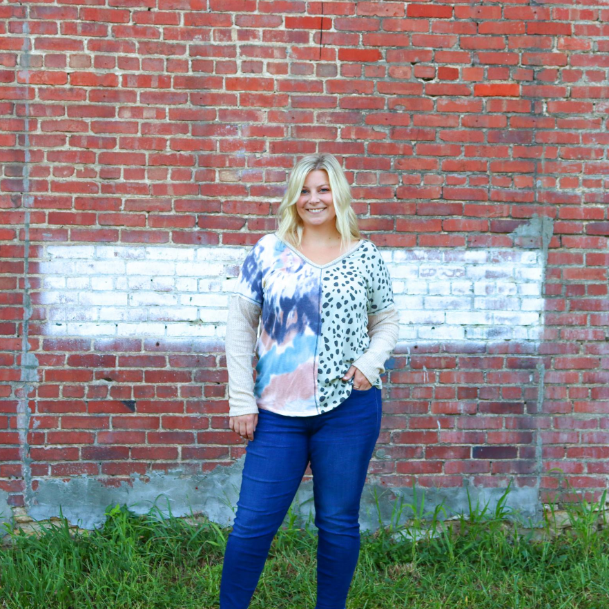 Fierce and Feminine Long Sleeve-Cheetah/Tie Dye