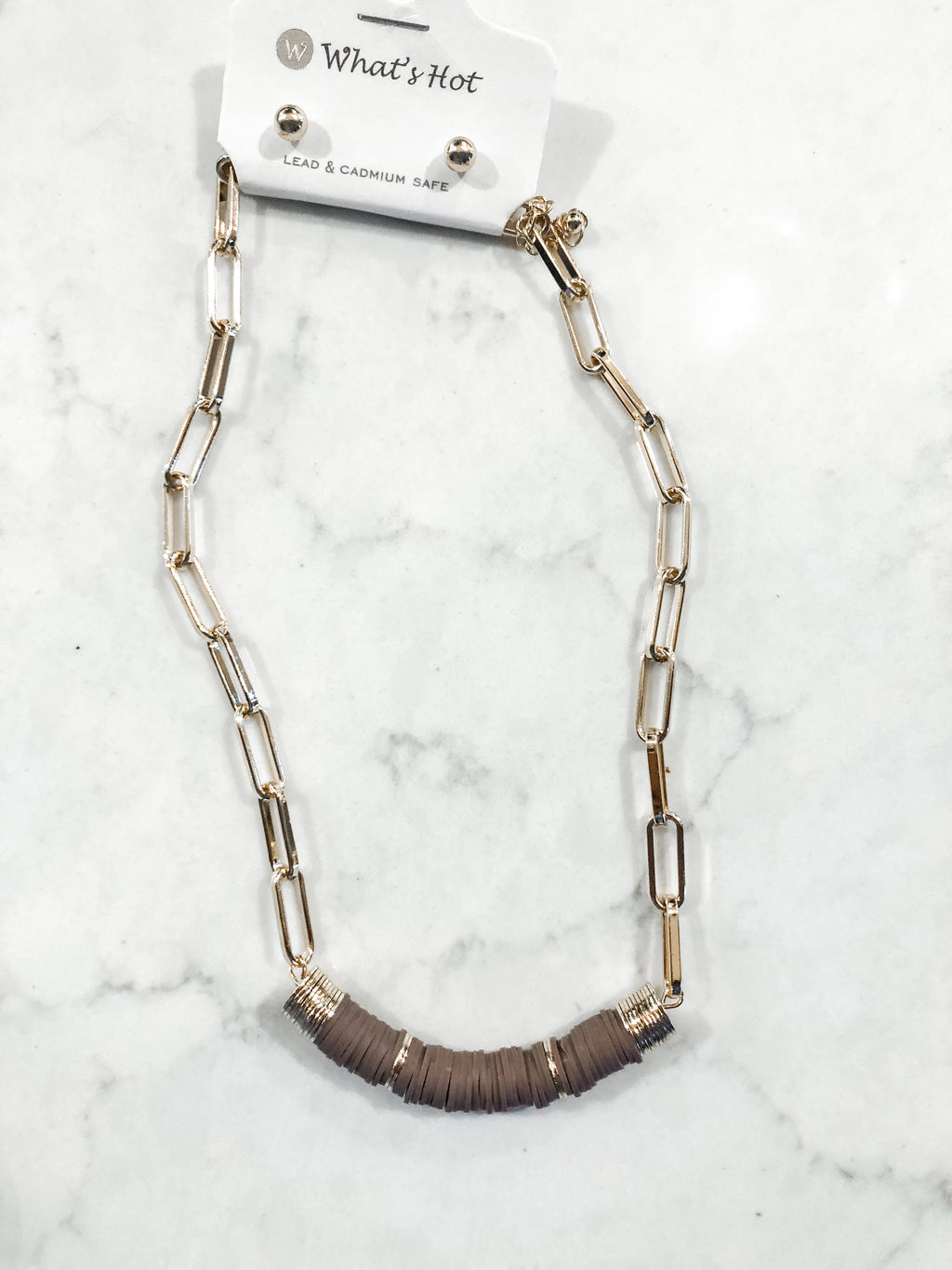 Gold Chain with Mocha Rubber Necklace