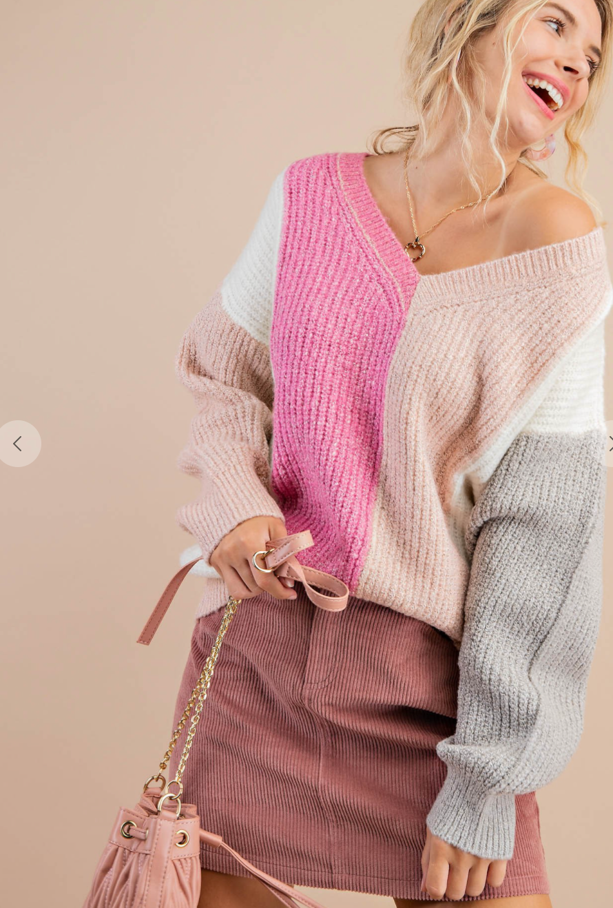 Miss Flirt Ribbed Color Blocked Sweater