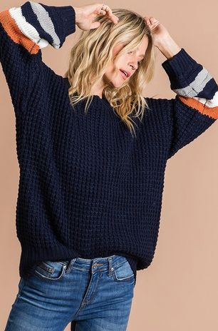 Navy Dream Color Block Sleeve Sweater