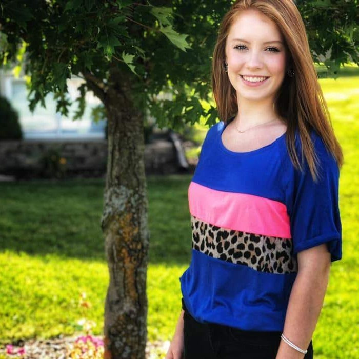 Blue and Neon Pink Color Block Tee