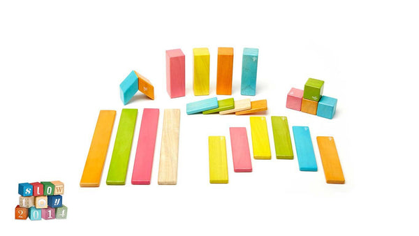 Tegu Magnetic Wooden Blocks - 24 Piece Tints Set