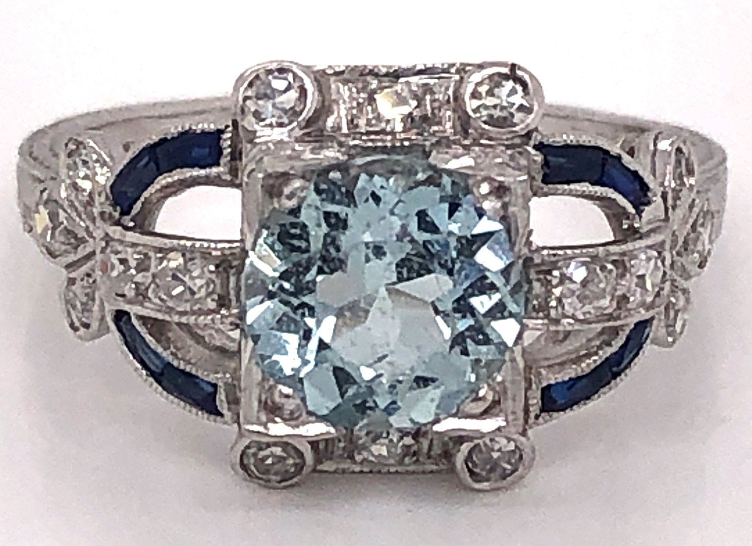 1920's Platinum Round Aquamarine Ring
