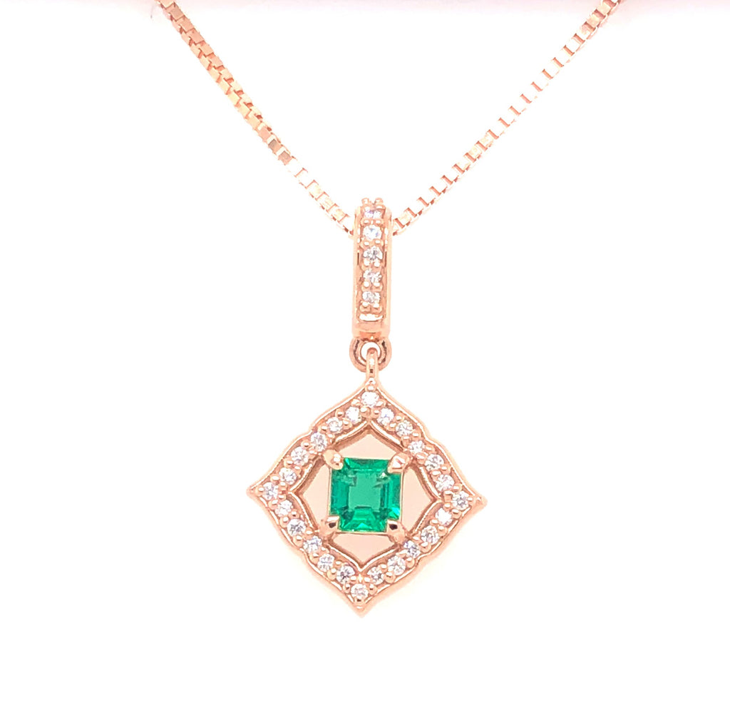 Rose Gold Emerald and Diamond Pendant