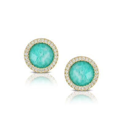 Yellow Gold with Diamonds 4.88 Carat Amazonite Earrings