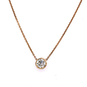 Bezel Set Solitaire Diamond Necklace