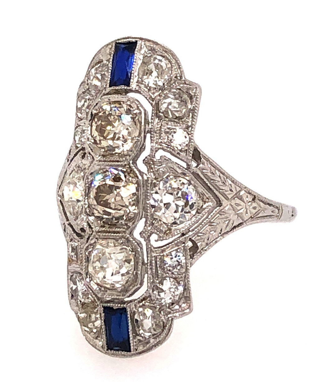 Circa 1920's Diamond and Sapphire Ring