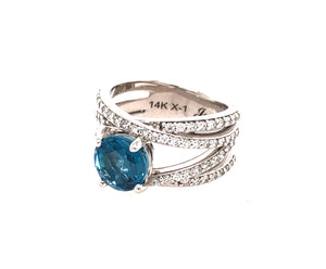 2.56 Carat Crossover Ring with London Blue Topaz
