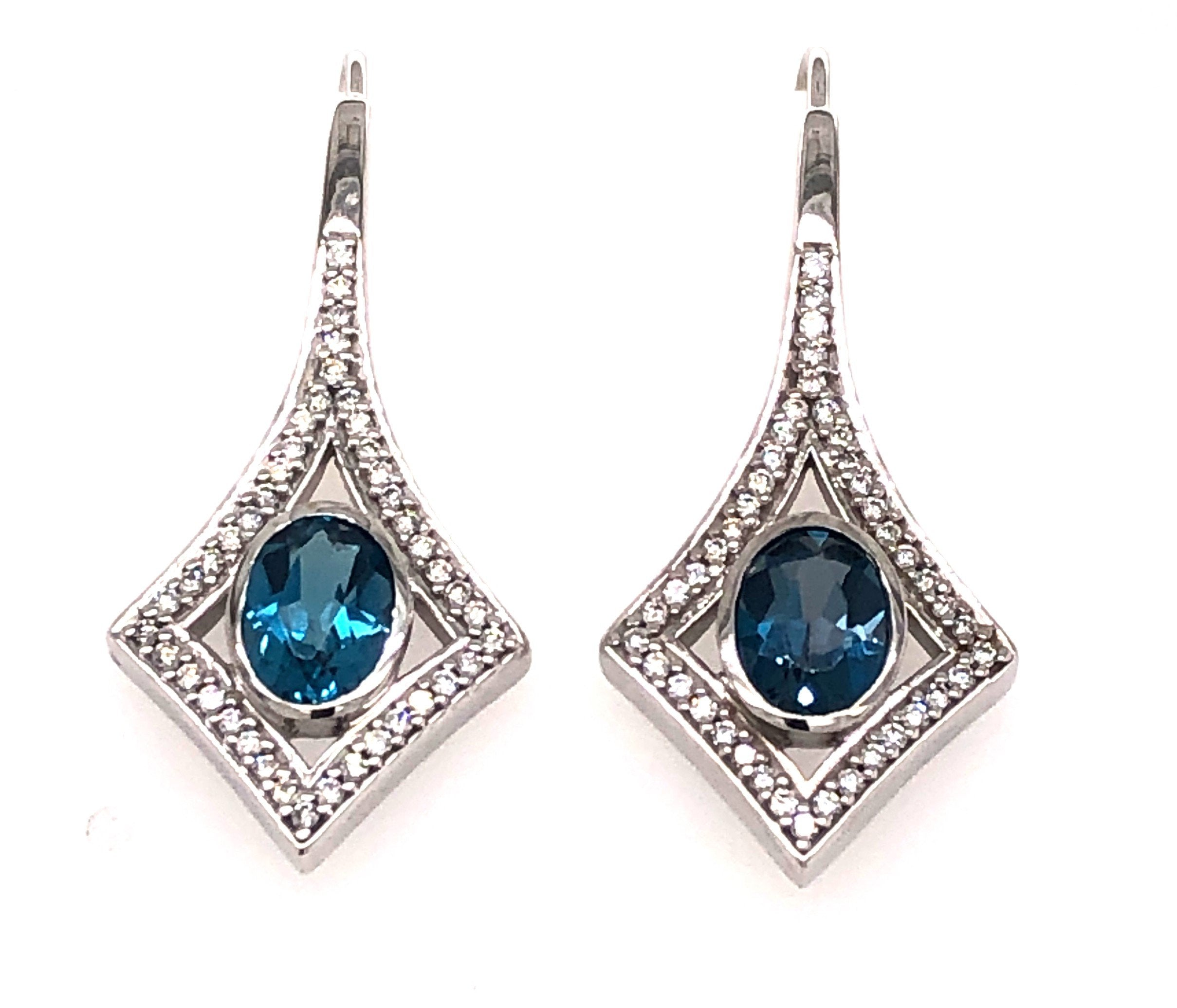 Deco-Style Blue Topaz Earrings