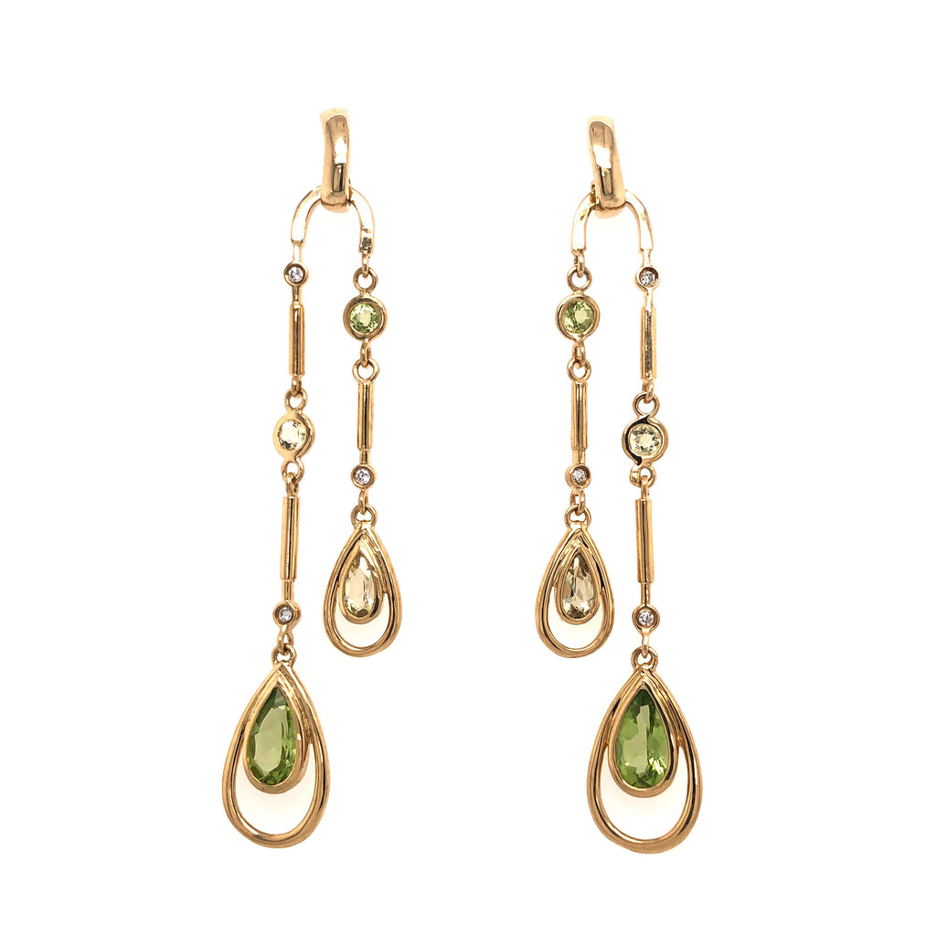 Deco Style Chandelier Earrings Gold
