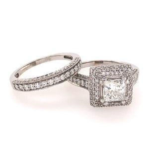Double-Halo Princess Cut Wedding Set