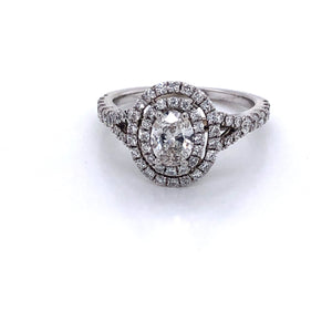 Double Halo Oval Diamond Engagement Ring