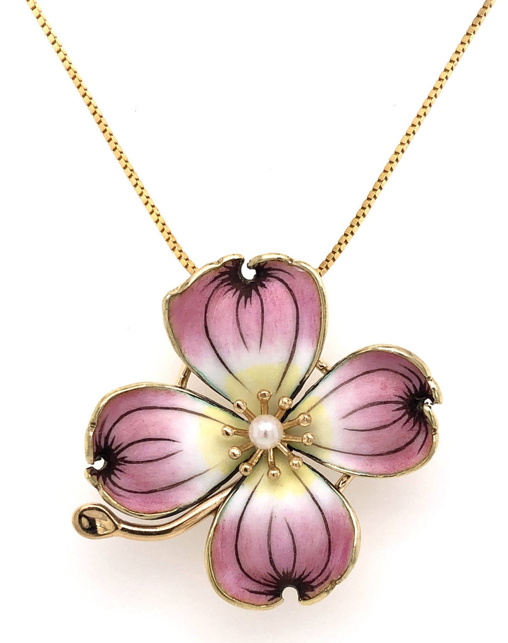 Estate Pink Dogwood Flower Pendant or Pin