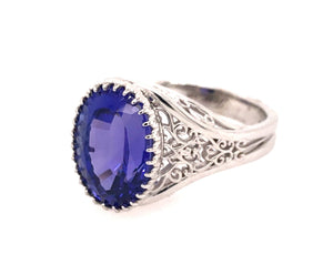 White Gold Filigree Tanzanite Ring
