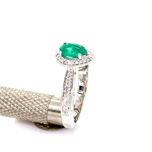 Custom 18k White Gold w/ Pear Shaped Emerald and Diamond Ring