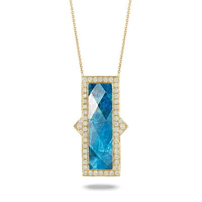 "Yellow Gold and Diamond ""Laguna"" Apatite Necklace"