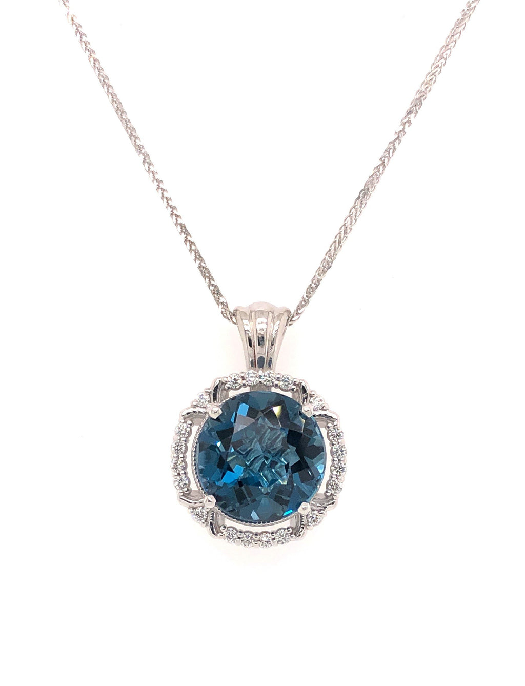 5 Carat London Blue Topaz and Diamond Pendant