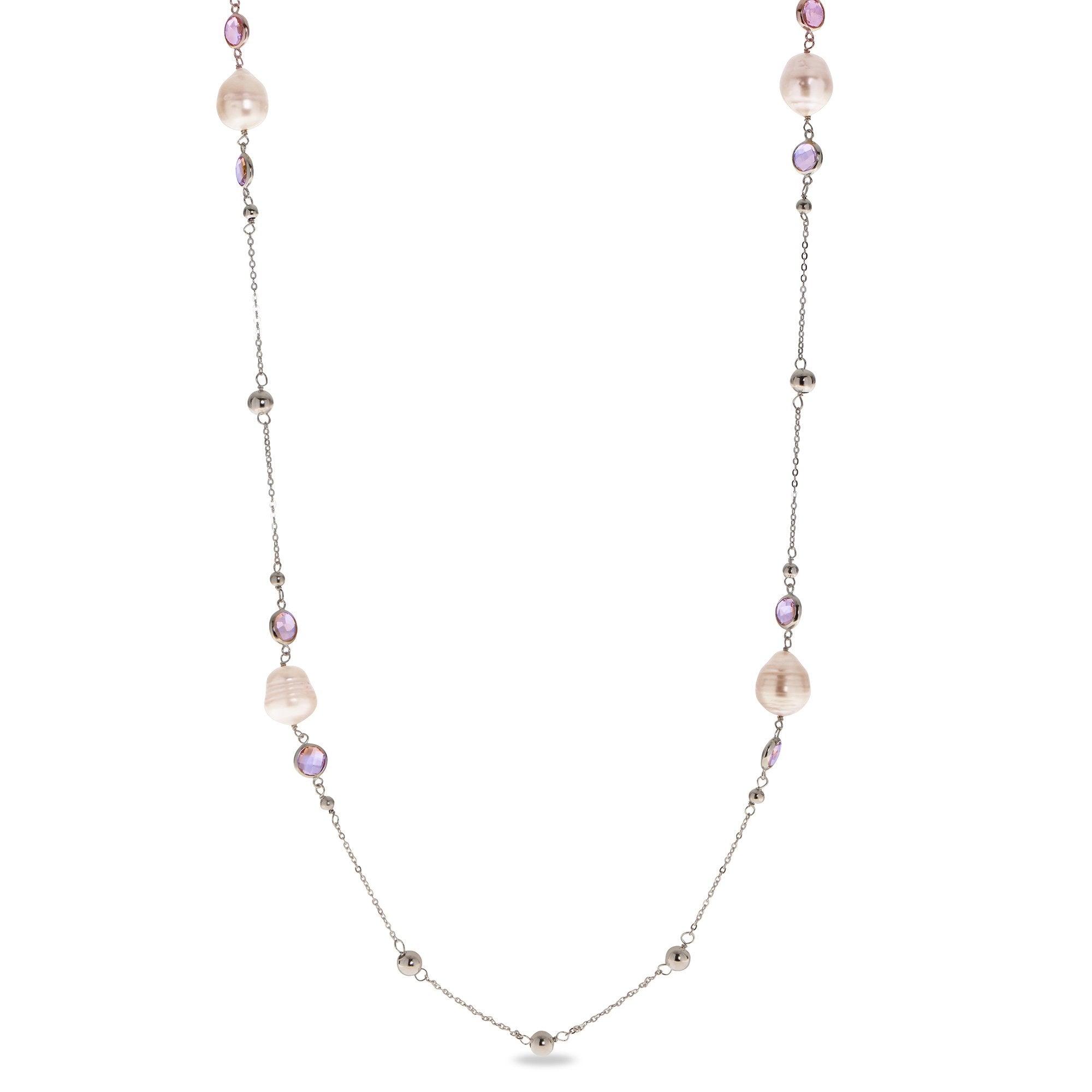Long Length Pearl and Amethyst Necklace