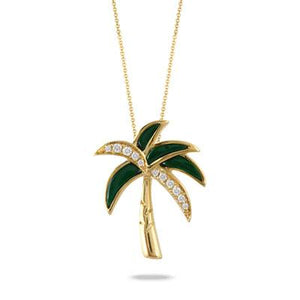 Yellow Gold Malachite Palm Tree Amazonite Pendant
