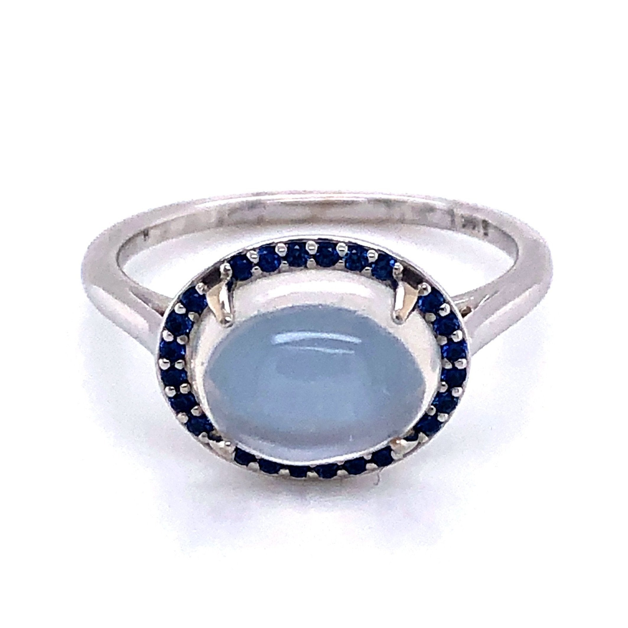 White Gold Halo Style Moonstone and Diamond Ring