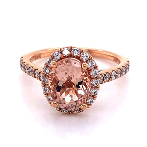 Rose Gold Halo Style Morganite and Diamond Engagement Ring