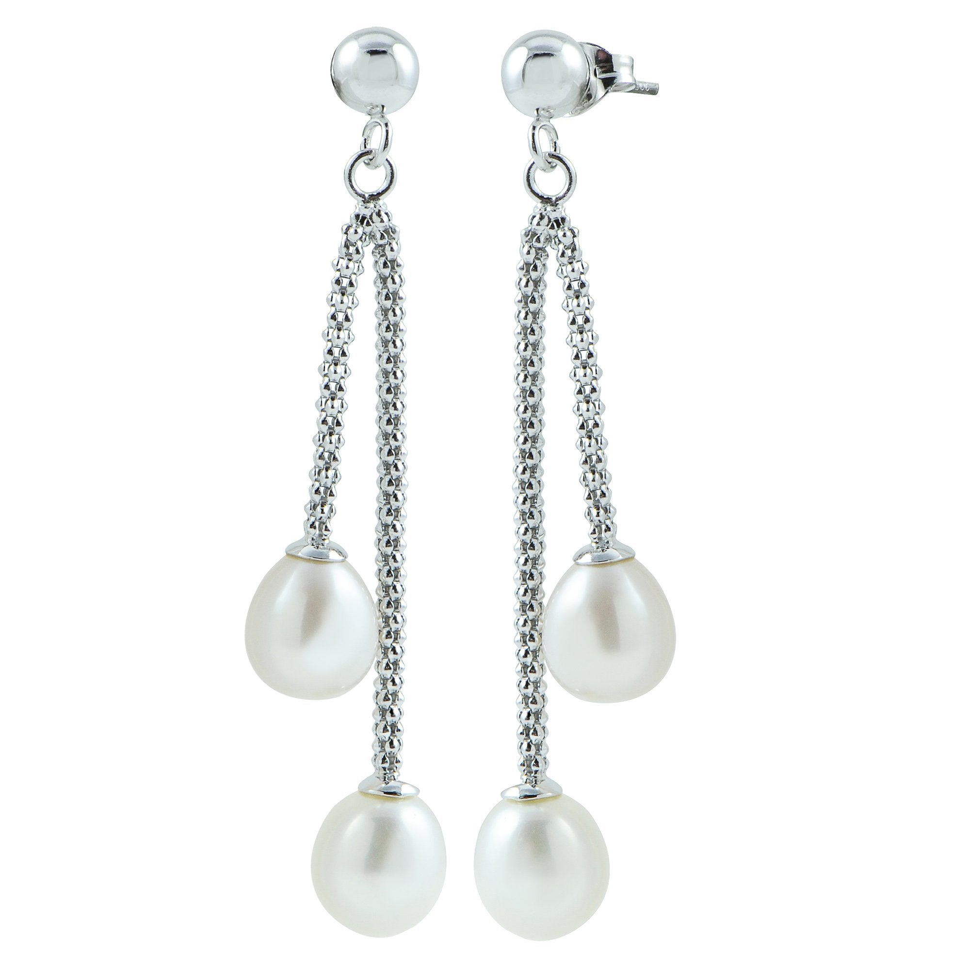 Sterling Silver Freshwater Cultured Pearl Drop Earrings