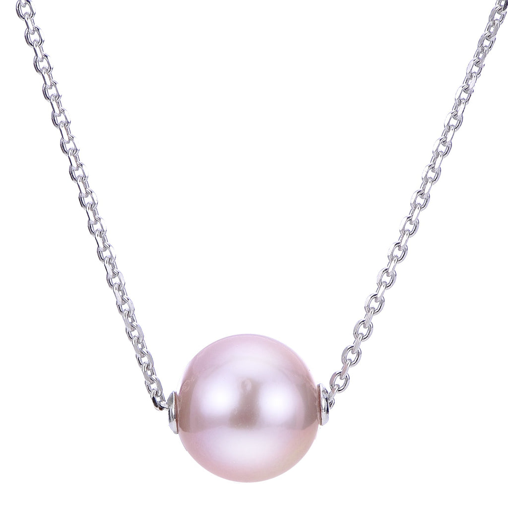 Sterling Silver Cultured Pink Pearl Solitaire Slide Necklace