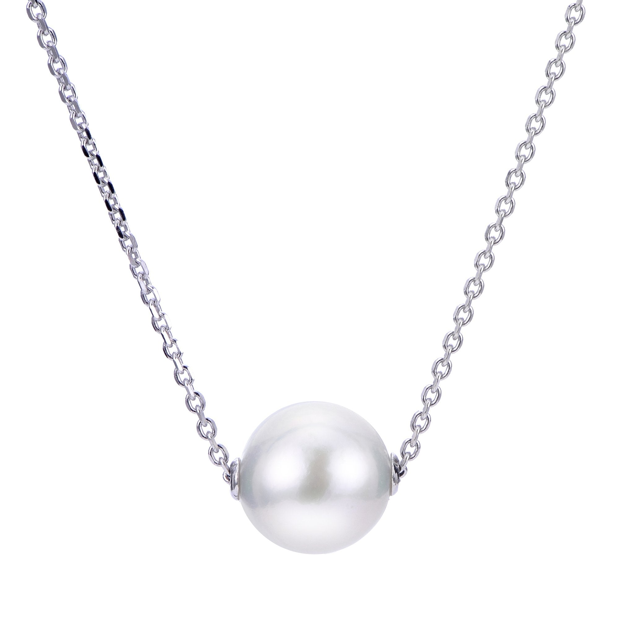 Sterling Silver Freshwater Cultured Pearl Solitaire Slide Necklace