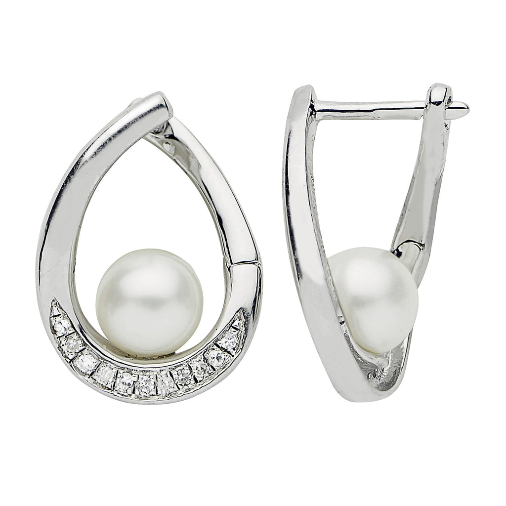 Sterling Silver Pearl & Diamond Hoop Earrings