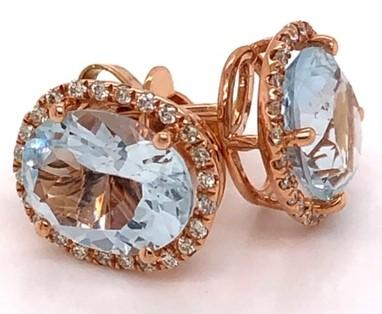 Rose Gold Oval Cut Aquamarine & Diamond Earrings