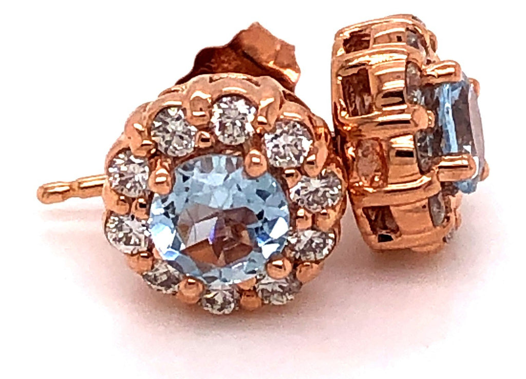 Rose Gold Round Cut Aquamarine & Diamond Earrings