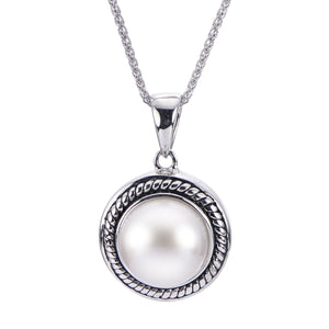 Freshwater Button Cultured Pearl Solitaire Pendant