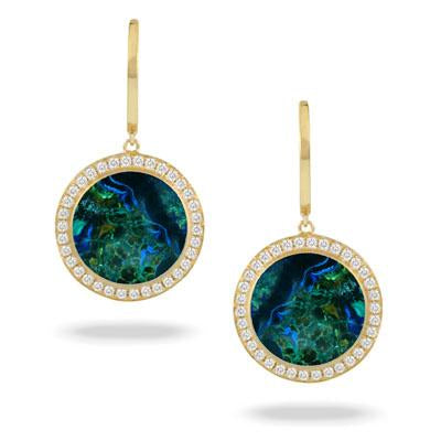 Yellow Gold Terra Earrings Azurite Malachite