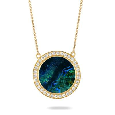Yellow Gold and Diamond Terra Necklace with Azurite Malachite