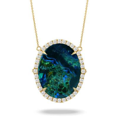 Yellow Gold Terra Necklace with Azurite Malachite