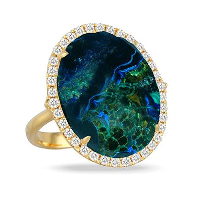 Yellow Gold Terra Ring with Azurite Malachite