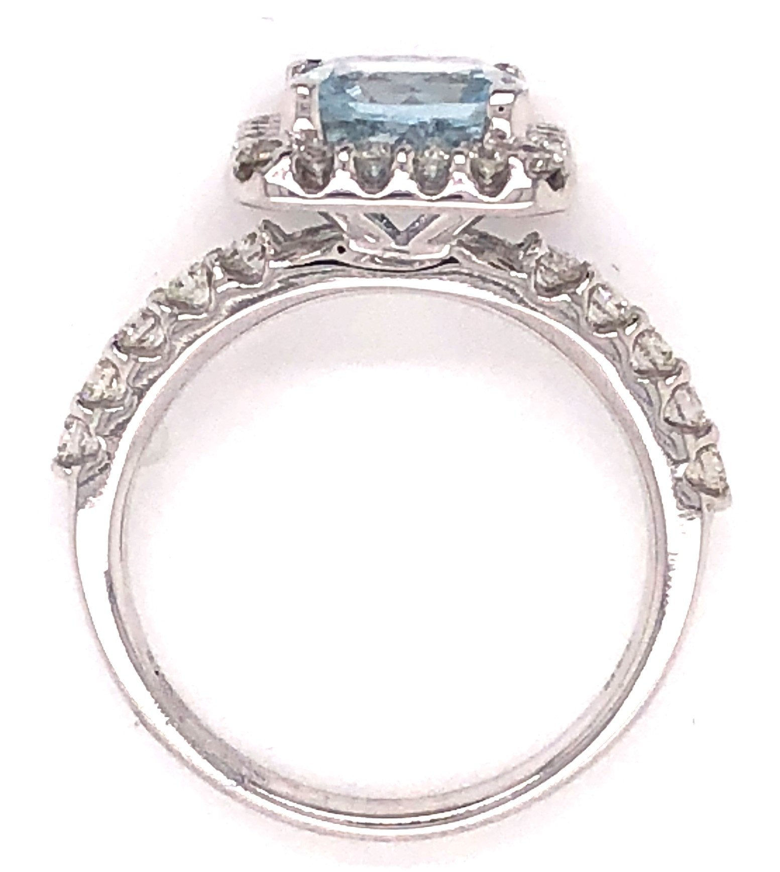 White Gold Cushion Cut Aquamarine & Diamond Ring