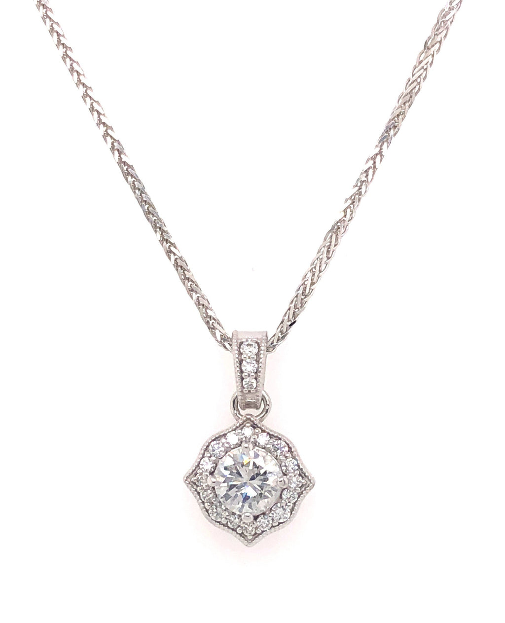 White Gold Diamond Pendant Brilliant Cut