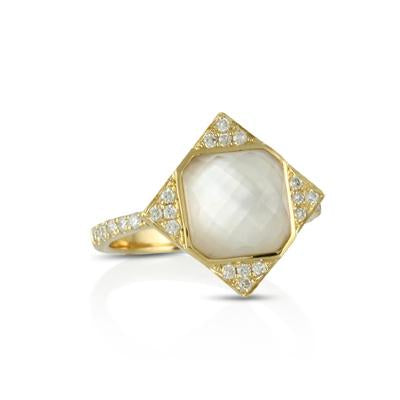 White Mother of Pearl Orchid Ring